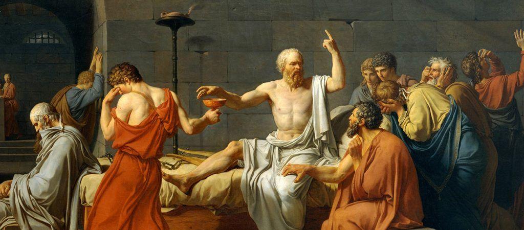 La Muerte de Sócrates, pintura de 1787 realizada por el artista francés Jacques-Louis David.