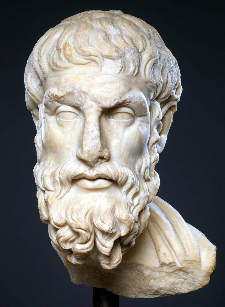 Busto de Epicuro, padre del epicureísmo
