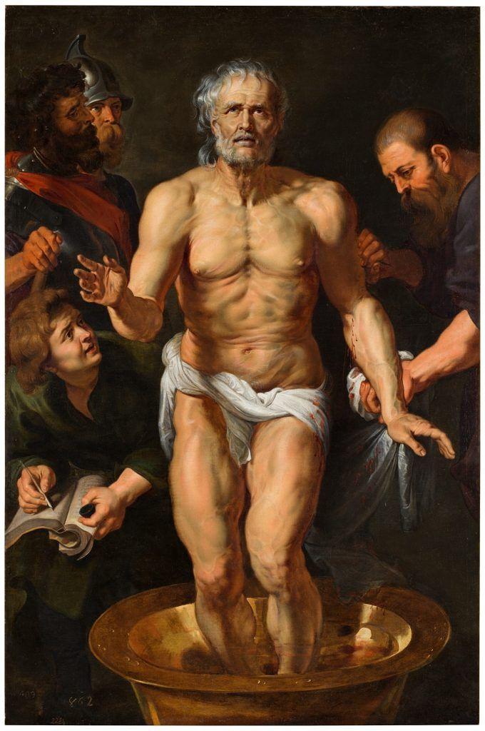 En este cuadro del pintor Rubens, podemos ver la escena previa a la muerte del filósofo estoico Séneca