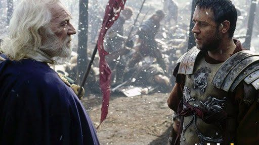 En esta fotografía extraída de la película Gladiator podemos observar a Marco Aurelio frente al general Máximo