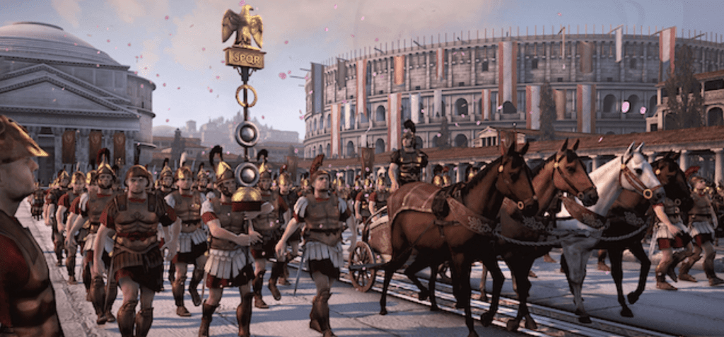"""La mayoría del público tendría sus ojos pegados al victorioso general en el frente, uno de los lugares más codiciados durante la época romana. Solo unos pocos notarían al ayudante en la parte trasera, justo detrás del comandante, susurrándole al oído: """"Recuerda, eres mortal""""."""