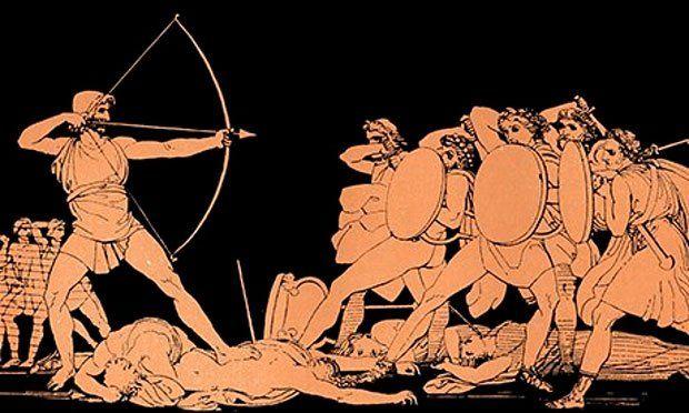 Ulises apuntado con su arco
